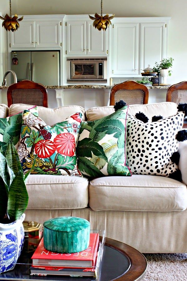 Spring Home Tour || Tommy Bahama Swaying Palms Pillow || Premier Prints Togo black and white pillow || Chiang Mai Dragon || Coffee Table Styling