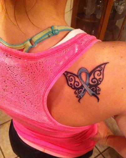 Tattoo for my grandma. Colon cancer awareness ribbon.