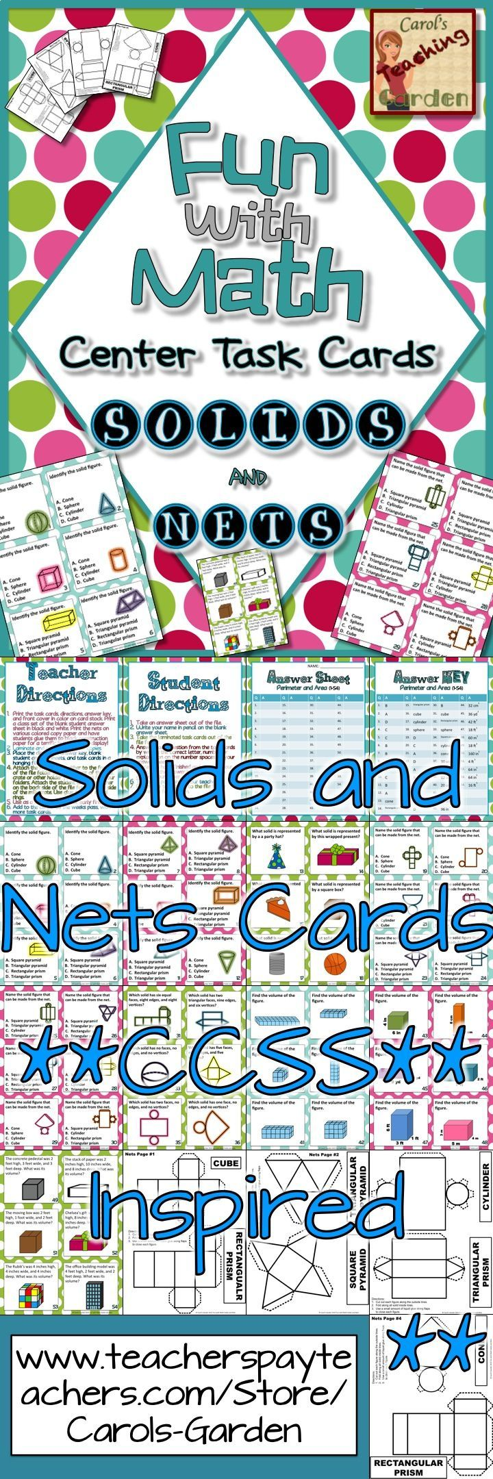 54 #solids #volume and #nets #Math center #TaskCards, including 18 each for low, medium, and high students for each standard taught, including: 18 cards identifying solid figures 18 cards identifying figures which can be made with nets shown 18 cards finding the volume of figures Student directions Teacher directions Answer Key 8 nets with labels suitable for copying as manipulatives for students $