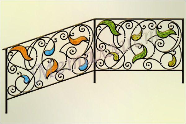 Перила кованые с витражом или цветным стеклом. Витраж в стиле тиффани / цветное стекло. Индивидуальная  проработка рисунка и цветового решения. цена: от 19000 руб.<sup>*</sup>