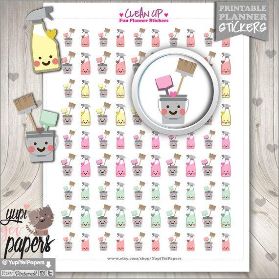 Clean Up Stickers Printable Planner Stickers von YupiYeiPapers