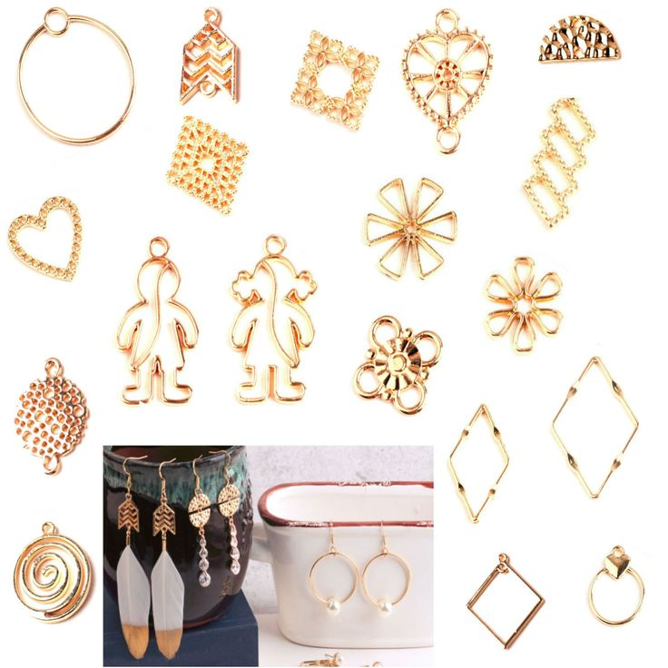 Earring Components Pendant Rhombus Abstract Jewelry Accessories Geometric Shaped Stud Earrings Drop Boho Charms Earring Findings, 2 pcs / 5 pcs / 10 pcs / Mix 19 pcs