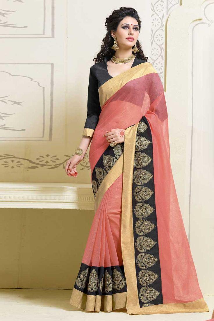 #AndaazFashion Présente sari rose Art Soie avec chemisier  http://www.andaazfashion.fr/womens/sarees/pink-art-silk-saree-with-blouse-dmv8547.html