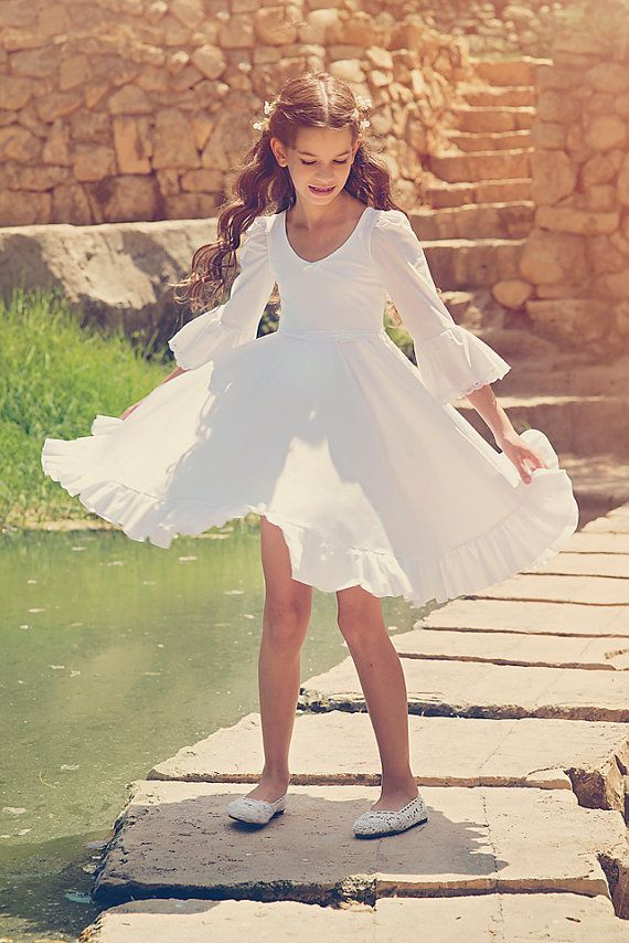 Flower Girl White Dress First Communion Dress Girls and by Bubale1