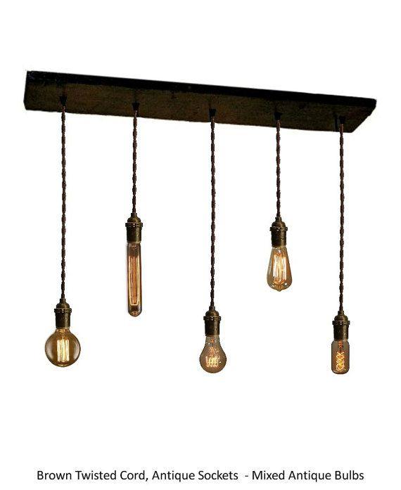 5 BRASS Pendant Reclaimed Wood Chandelier by HangoutLighting