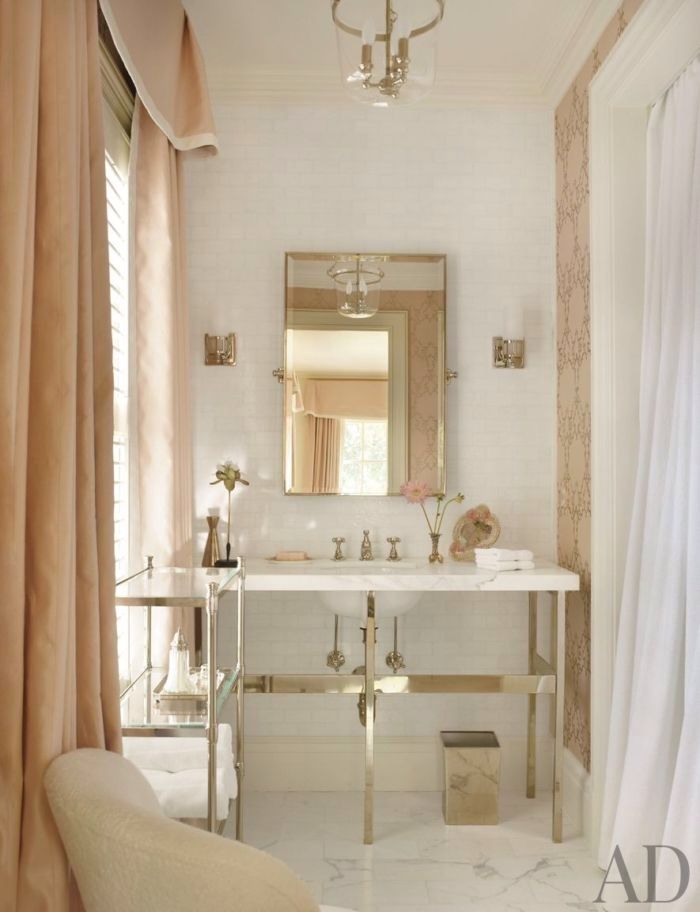 I Really Love The Soft, Blush Color Of The Window Coverings. Suzanne Kasler  Atlanta House 15 Guest Bath Lg A Few Monday Favorites