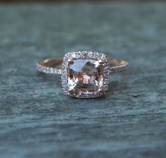 Cushion cut peach champagne sapphire ring. DREAM RING