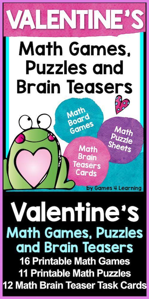 Valentine's Day Math from Valentine's Day Math Games, Puzzles and Brain Teasers #math #mathcenters #valentinesdaymath #valetninesmath #mathgames #firstgrade #secondgrade #thirdgrade #taskcards