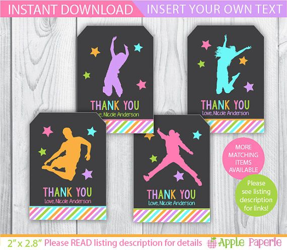 Bounce House favor tags / Jump gift tags / Jump by ApplePaperie
