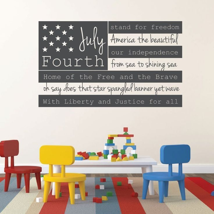 Patriotic Decals - USA Wall Decal - Fourth of July American Flag Wall Art With Quote - CustomVinylDecor.com