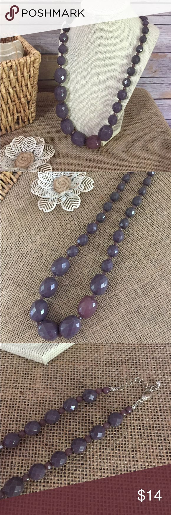 Purple Resin Bead Necklace This is pre-loved it but in perfect condition, from my collection. Purple plastic resin beads in graduated sizes and they are faceted. Measures approximately 28 inches. N137. Bundles and offers always welcome. Jewelry Necklaces