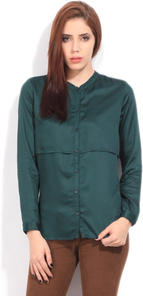 Arrow Women's Solid Formal Dark Green Shirt