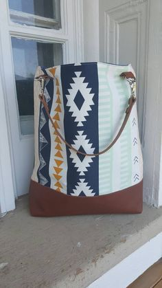 Navy & Mint Aztec Diaper Bag// Leather Diaper Bag// by GoBabe