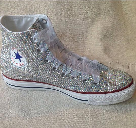 a6c0a707578f White High Top Sequin Bow Sparkled AB Rhinestone Crystal Converse Wedding  Prom  Promshoes