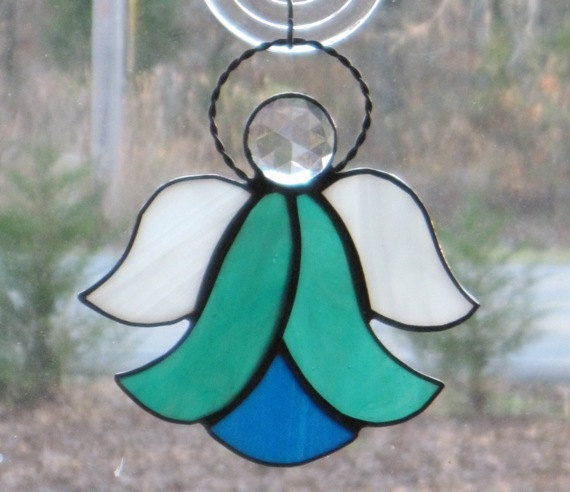 Stained Gl Suncatcher Angel Teal And Blue Wire Halo Pinterest