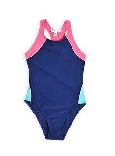 Girls Essentials Spliced Racer Back Swimsuit Navy rash vest