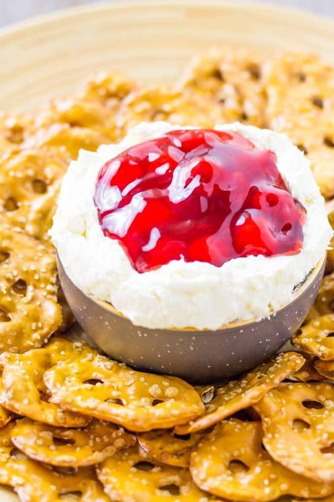 Serve up this gorgeous Cherry Pretzel Salad Dip with crispy pretzel thins | Take Two Tapas