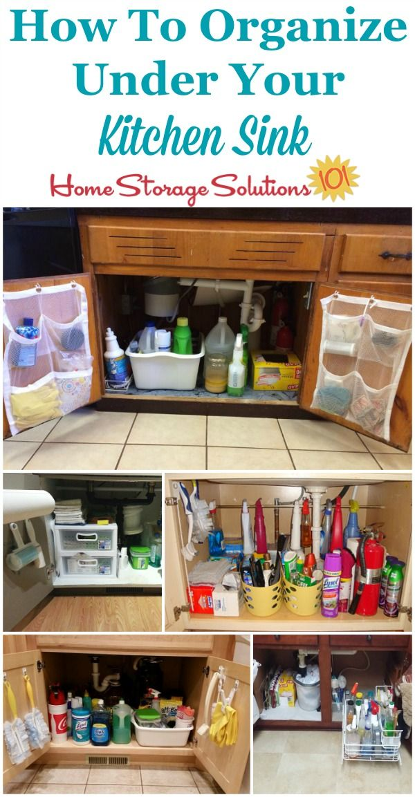 How to organize under your kitchen sink cabinet, with lots of real life examples from Home Storage Solutions 101 readers.
