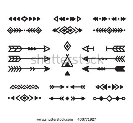 Native American Indian Design Elements Set. Borders, Arrows ...