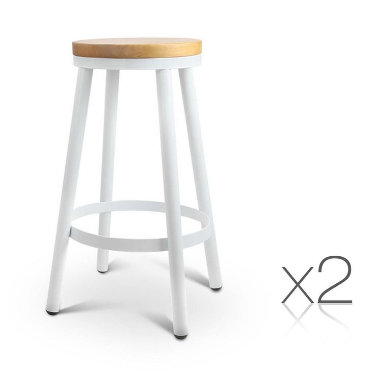 x2 Danny Stackable Round Bar Stools w/ Wooden Seat