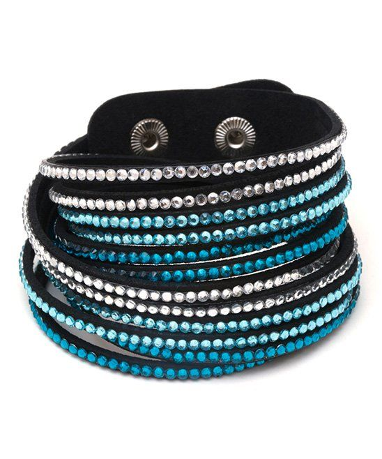 a8b8d97e05a94 Take a look at this Aqua & Black Wrap Bracelet With Swarovski ...