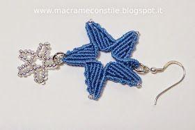 MACRAME MARGARETENSPITZE stella blu ciondolo orecchino