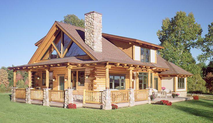 Wrap around porch on a log house home design log for Full wrap around porch log homes