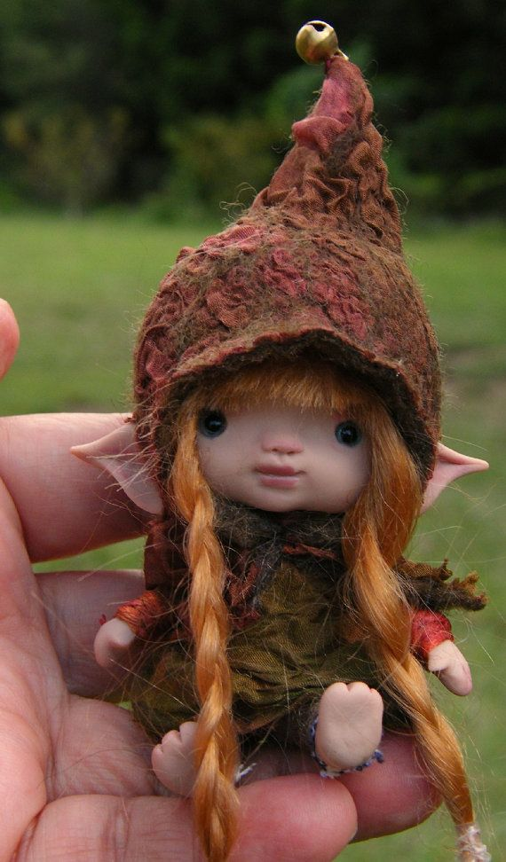 sweet tiny ooak posable 3.5  inch fairy by throughthemagicdoor