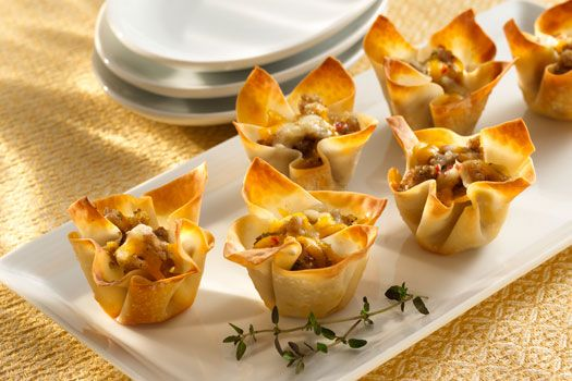 Sargento Cheese and Sausage Cups. Made in wonton wrappers so they're good and crispy! My family makes this recipe all the time, it's easy and delicious and does not take nearly as long a time as the recipe says! (Less than 30 minutes. Gotta love that!)
