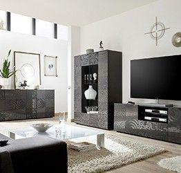 Sala completa di base porta tv, madia 3 ante e vetrina in grigio serigrafato
