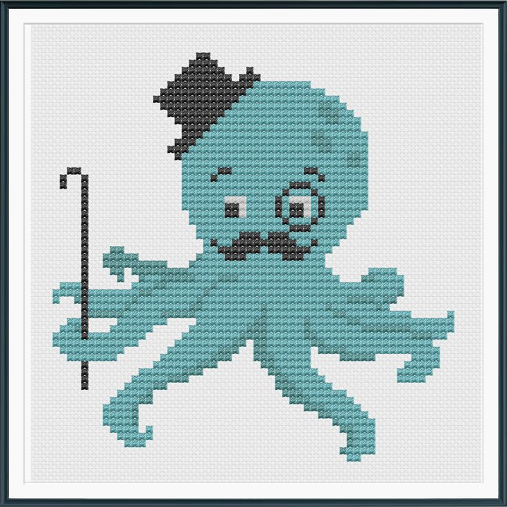 Dapper Octopus Cross Stitch Pattern Instant Download