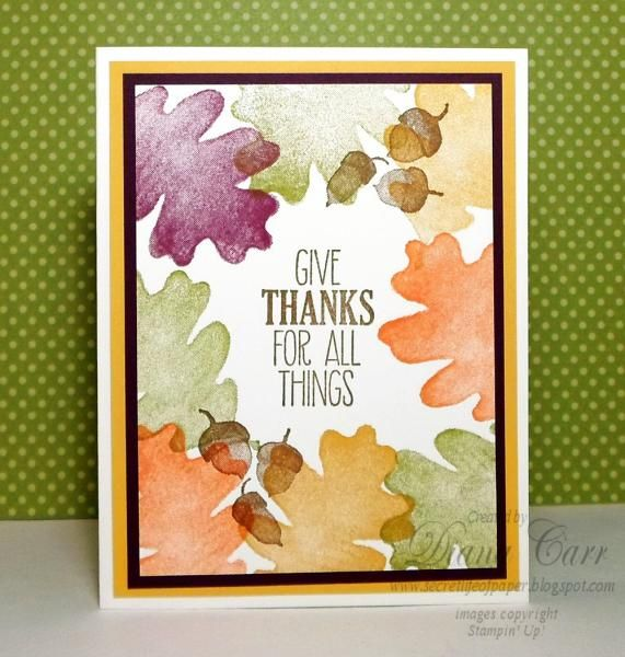 Quick and easy Thanksgiving card.  For more details, visit my blog:  [url=http://secretlifeofpaper.blogspot.com/2014/09/give-thanks-for-all-things.html]The Secret Life of Paper[/url]