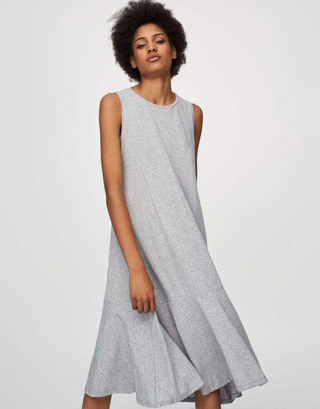 Long dress with ruffled hem - Dresses - Clothing - Woman - PULL&BEAR United Kingdom