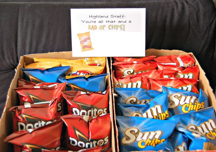 You're all that and a bag of chips!  Staff appreciation / morale booster.  2 large boxes of chips from Costco + cute sign = lots of happy people!