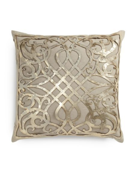 I love this pillow, I had to get it. Callisto Home - Charlotte Laser-Cut Leather Overlay Linen Pillow
