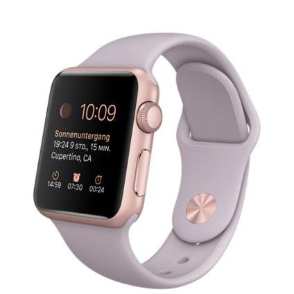 Die Apple Watch Sport ist erhältlich mit Gehäusen aus eloxiertem Aluminium in Silber, Space Grau, Roségold und Gelbgold sowie mit verschiedenen Armbändern. Preise der Apple Watch Sport anzeigen.