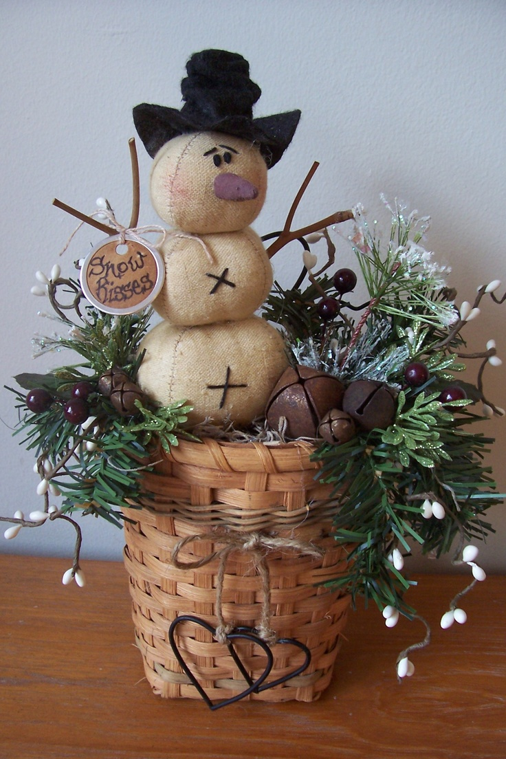 """""""Snow Kisses"""" features a frosty prim snowman sitting in a woven basket, embellished with pine, frosted ming, glittery leaves, assorted rusty jingle bells, pip berries, dangling metal hearts and a prim grungy hang tag."""