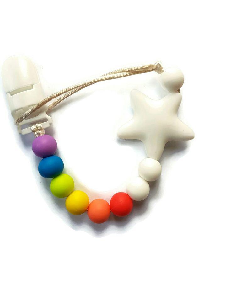 Rainbow star pacifier clip