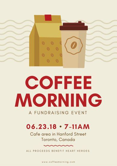 coffee fundraising event poster templates by canva graphic