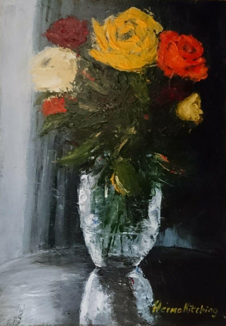 Roses in Glass Vase