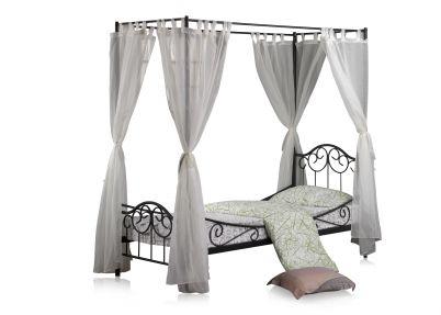 Romantisch hemelbed 'Colonial' | Zwart frame met wit - transparante gordijnen | Shelbyville 1p | Tienerbedden