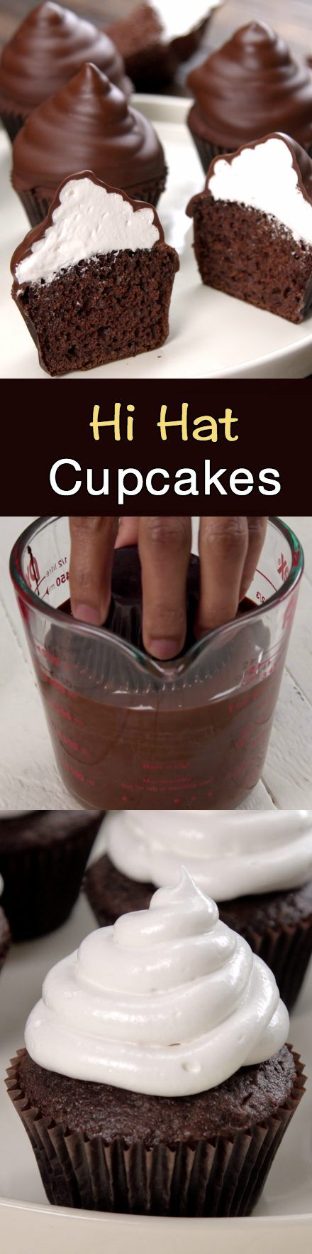 Dipped cupcakes in chocolate
