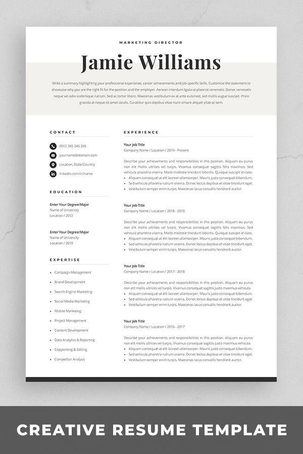 Modern Resume Template Creative Cv For Word Elegant Design Etsy Resume Template Word Resume Template Resume Design Template