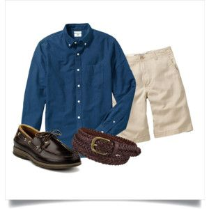Polyvore: Navy OCBD, stone shorts, brown braided leather belt, amaretto Sperry A/O 2.