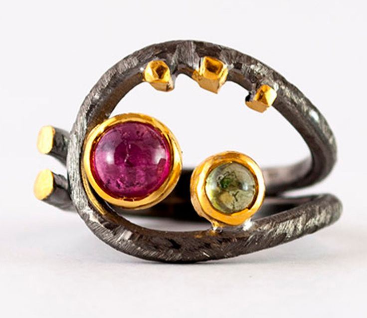 Greek Ring - Byzantine Ring Coil ring watermelon pink tourmaline and peridot stone artisan statement ring hammered silver ring artisan ring