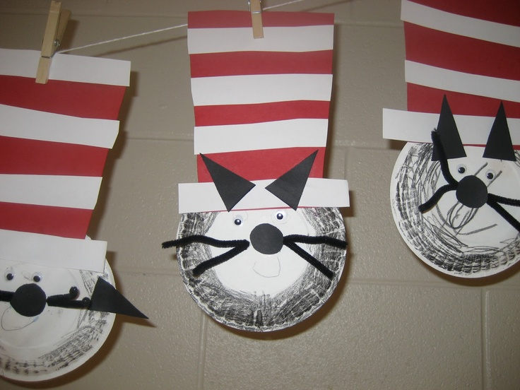 March/Dr Seuss: Paper plate cat in the hat