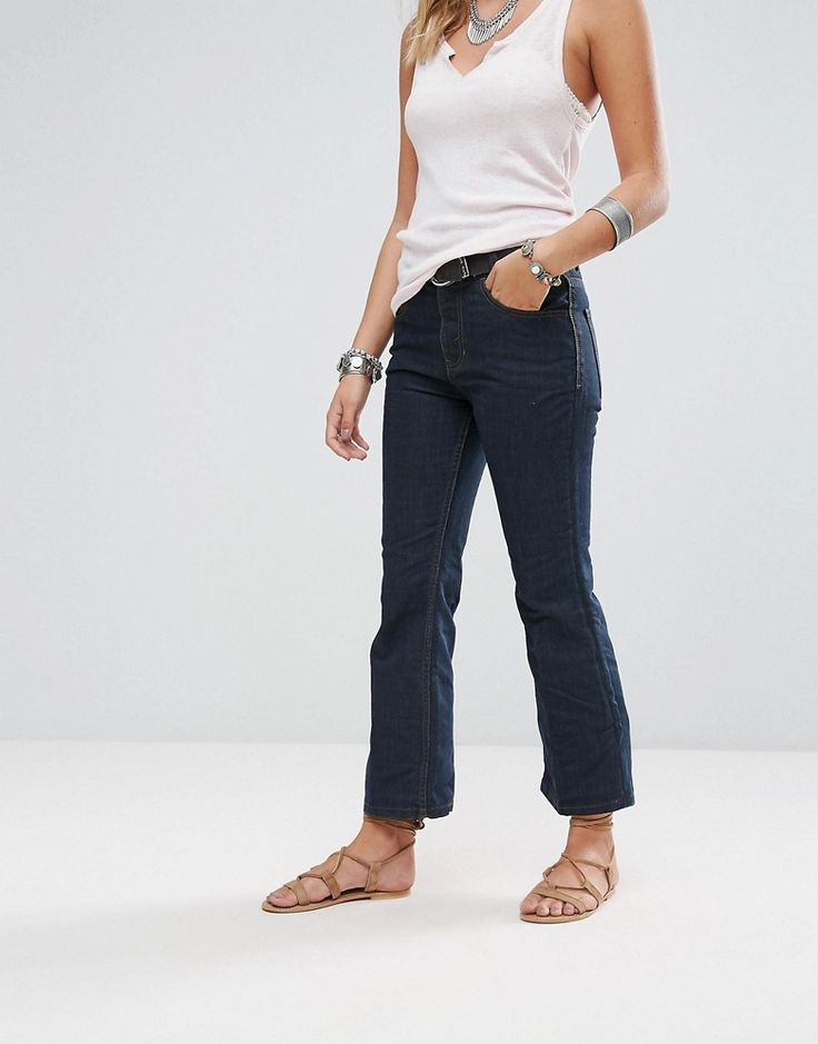 Get this Free People's bell-shaped jeans now! Click for more details. Worldwide shipping. Free People 60's Raw Denim Kick Flare Jeans - Navy: Jeans by Free People, Non-stretch denim, Dark wash finish, High-rise waist, Concealed fly, Five-pocket design, Flared leg, Regular fit - true to size, Machine wash, 77% Cotton, 23% Polyester, Our model wears a W26 and is 170cm/5'7 tall. With roots back to the �70s, the Free People girl lives through art, fashion, music and wanderlust. She�s feminine...