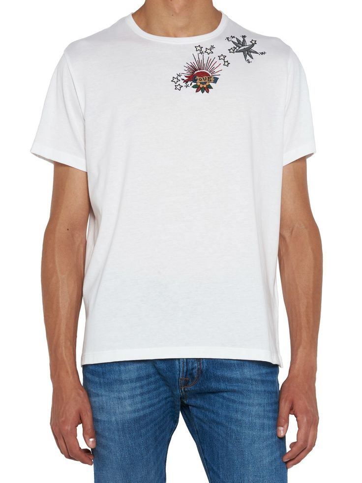T-shirt From Valentino: Cotton 'anchor Tattoo' Embroidered Crew-neck T-shirt