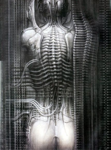 Work No. 456, New York City VI (Torso)  100 x 70cm, acrylic and ink on paper  ©1980 H.R. Giger