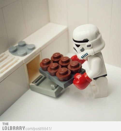 "lego stormtrooper baking: ""This is never going to fit."""